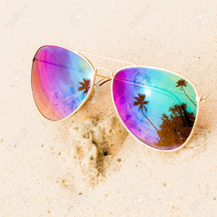 30606049-sunglasses-on-the-sand-beach-stock-photo