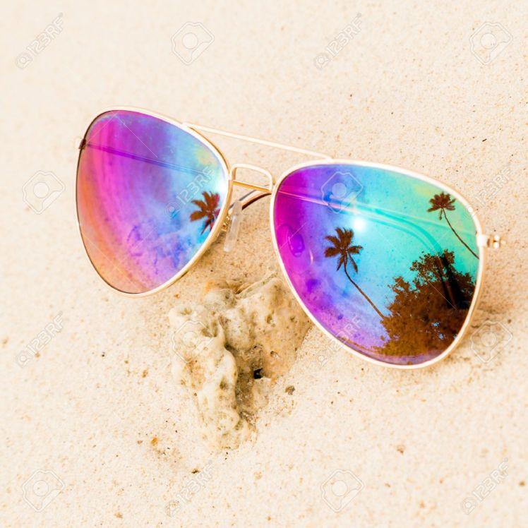 30606049-sunglasses-on-the-sand-beach-stock-photo